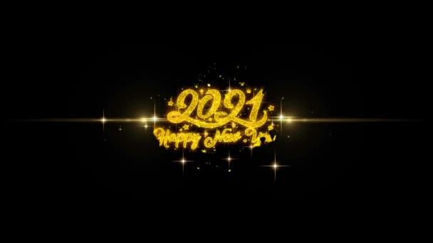 New Year 2021 Golden Text Blinking Particles with Golden Fireworks Display