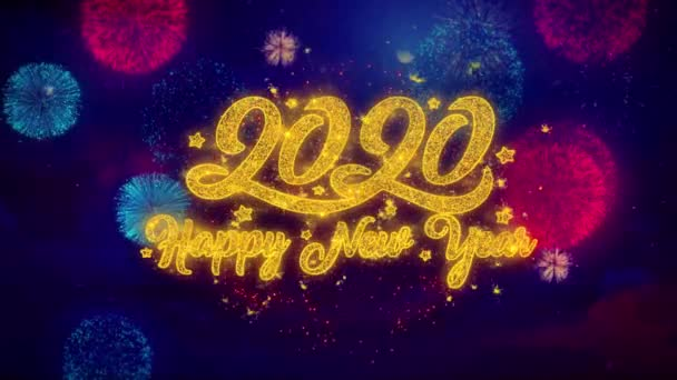 Happy New Year 2020 Greeting Text Sparkle Particles on Colored Fireworks