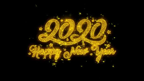 Boldog új évet 2020 tipográfia írt arany részecskék Sparks Fireworks