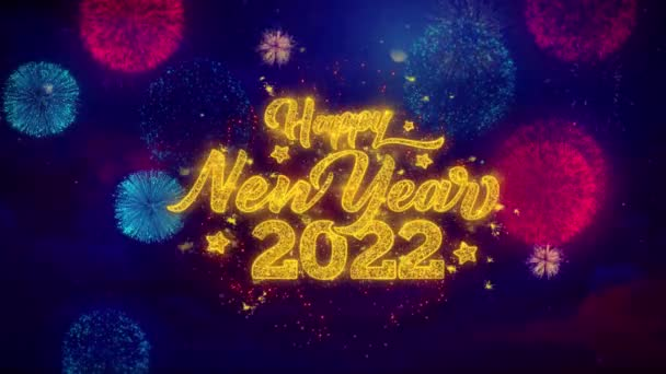 Happy New Year 2022 Greeting Text Sparkle Particles on Colored Fireworks