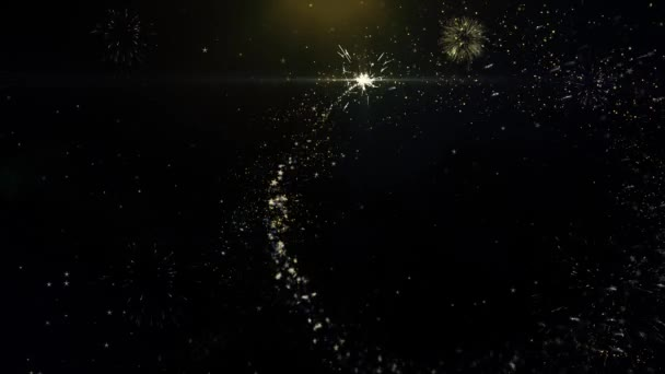 Happy New Year 2022 Written Gold Particles Exploding Fireworks Display