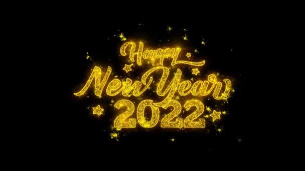 Frohes neues Jahr 2022 Typografie geschrieben mit goldenen Partikeln Funken Feuerwerk