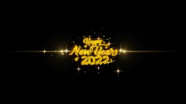 Boldog j évet 2022 arany-szöveg hunyorgó részecske-val arany-tűzijátékok bemutatás