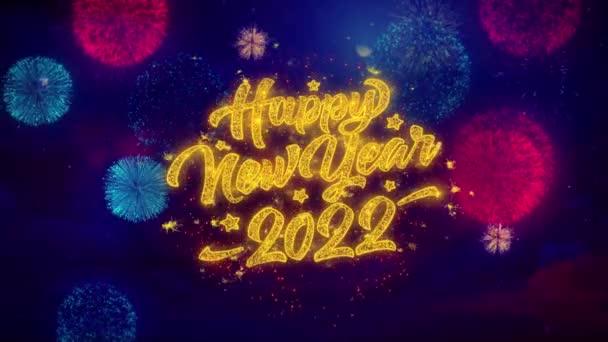 Új év 2022 üdvözlő szöveg Sparkle részecskék színes tűzijáték