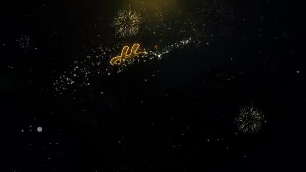 Nový rok 2022 psané zlaté částice explodující zobrazení Fireworks