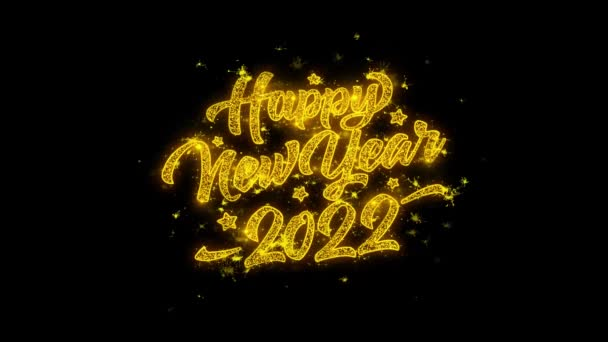 New Year 2022 Typography Written with Golden Particles Sparks Fireworks
