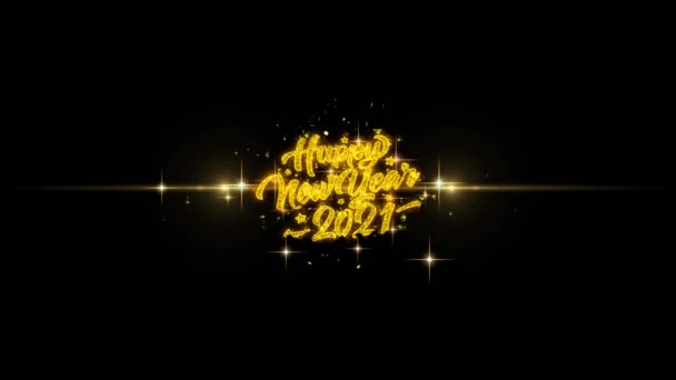 2021 Happy New Year Golden Text Blinking Particles with Golden Fireworks Display