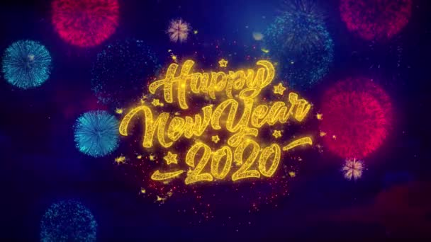 2020 Happy New Year Greeting Text Sparkle Particles on Colored Fireworks