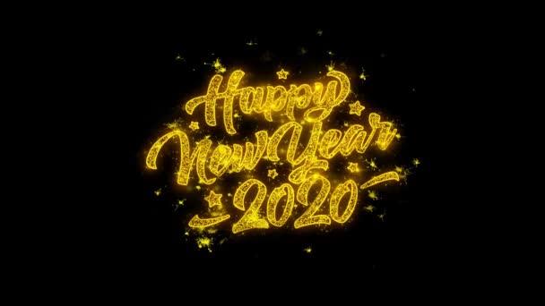 2020 boldog új évet tipográfia írt arany részecskék Sparks Fireworks