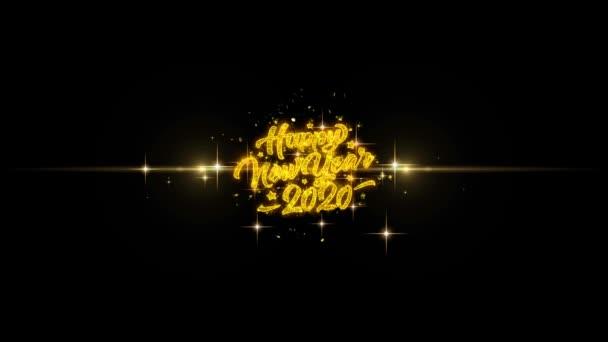 2020 Happy New Year Golden Text Blinken Partikel mit Golden Fireworks Display