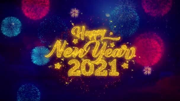 2021 boldog új évet üdvözlő szöveg Sparkle részecskék színes tűzijáték