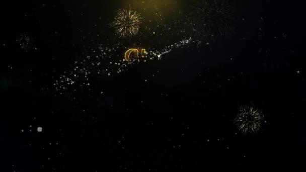 2021 boldog új évet írt arany részecskék robbanó tűzijáték Display