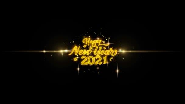 2021 boldog új évet Golden szöveg villogó részecskék arany tűzijáték Display