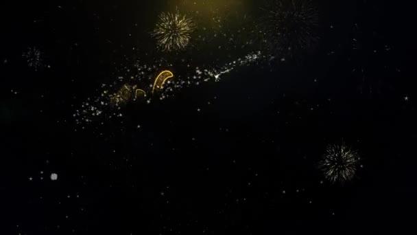 Willkommen 2022 geschrieben Gold Partikel explodierende Feuerwerk Display