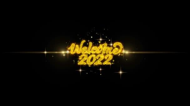 Üdvözöljük 2022 Golden szöveg villogó részecskék arany tűzijáték Display