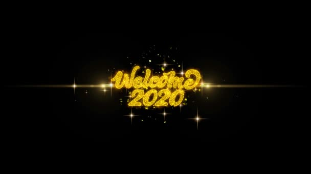 Welcome 2020 Golden Text Blinking Particles with Golden Fireworks Display