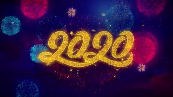 2020 Szilveszter üdvözlőszöveg Sparkle részecskék színes tűzijáték