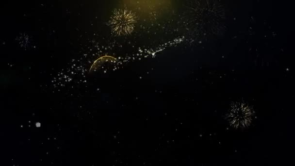 2020 New Year Written Gold Particles Exploding Fireworks Display