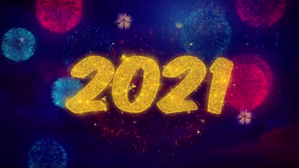 2021 Happy new year Greeting Text Sparkle Particles on Colored Fireworks