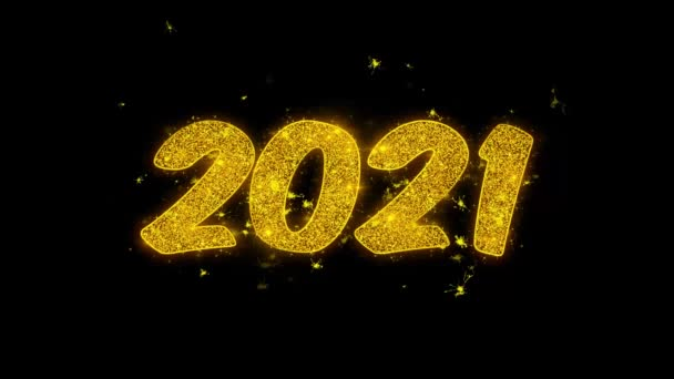 2021 Happy new year Typography Written with Golden Particles Sparks Fireworks