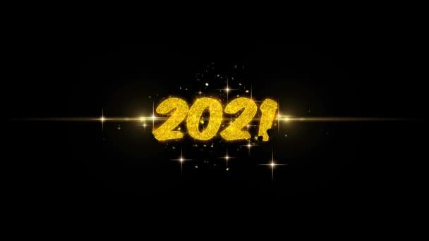 2021 Frohes neues Jahr Golden Text BlinkenPartikel mit Golden Fireworks Display