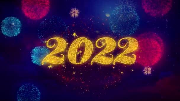 2022 Frohes neues Jahr Gruß Text funkeln Partikel auf farbigen Feuerwerk