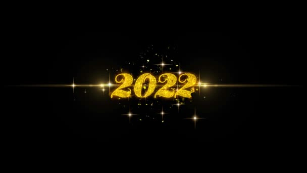 2022 Happy new year Golden Text Blinking Particles with Golden Fireworks Display