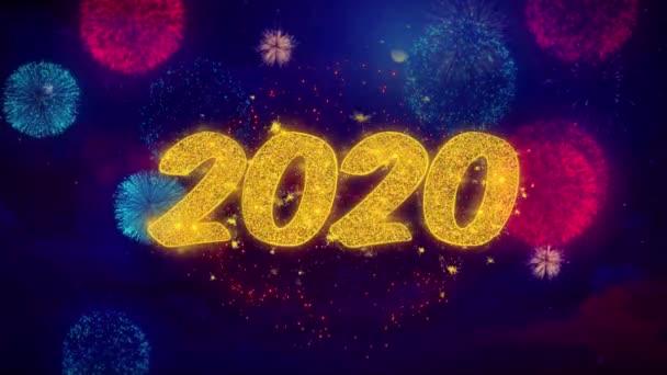 2020 boldog új évet üdvözlés szöveg Sparkle részecskék színes tűzijáték