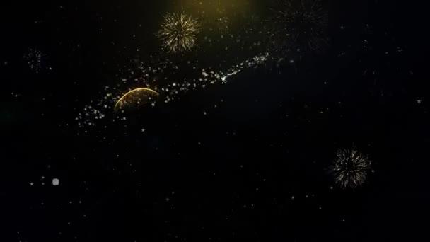 2020 šťastný nový rok napsané zlaté částice explodující zobrazení Fireworks