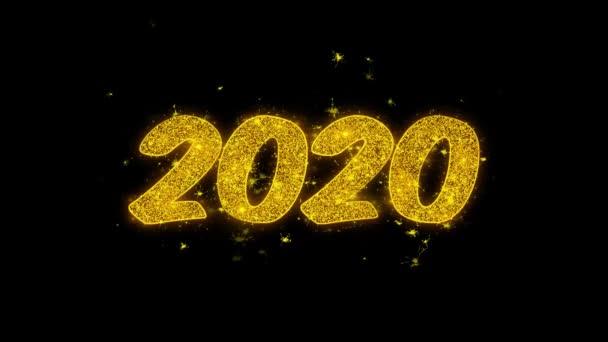 2020 Happy New Year Typografie geschrieben mit Goldenen Partikeln Funken Feuerwerk