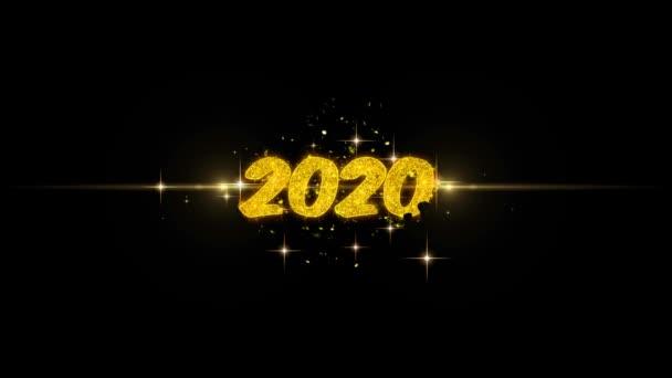 2020 zlatý text šťastný nový rok blikající částice se zlatou displejem Fireworks