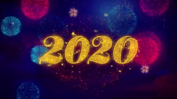 Frohes neues Jahr 2020 Gruß Text funkeln Partikel auf farbigen Feuerwerk