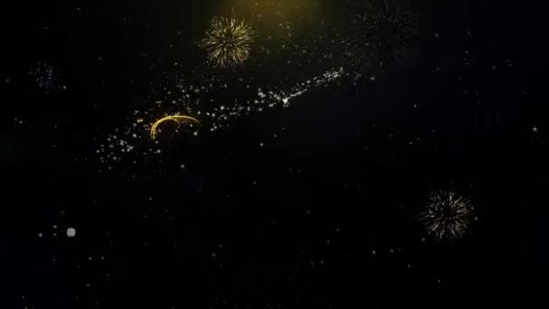 Happy New Year 2020 geschrieben Goldpartikel Exploding Feuerwerk