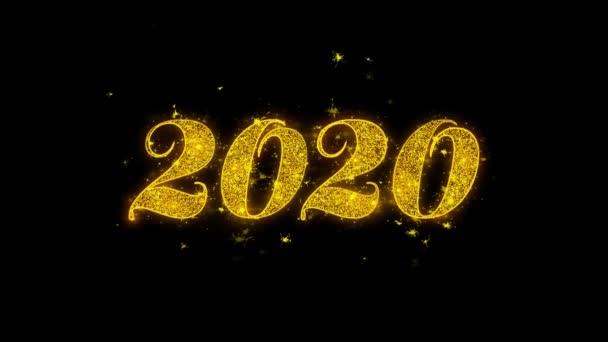 Frohes neues Jahr 2020 Typografie geschrieben mit goldenen Partikeln Funken Feuerwerk