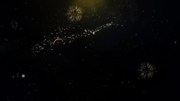 Boldog új évet 2021 írott arany részecskék robbanó tűzijáték Display