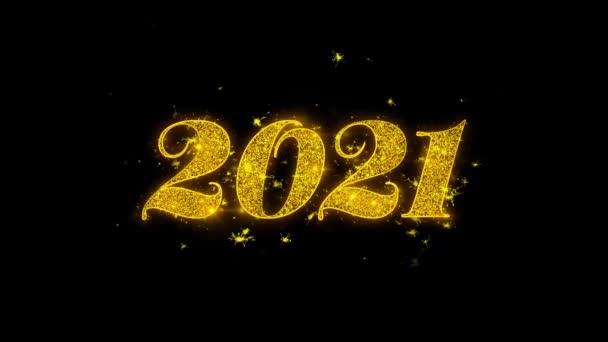 Frohes neues Jahr 2021 Typografie geschrieben mit goldenen Partikeln Funken Feuerwerk