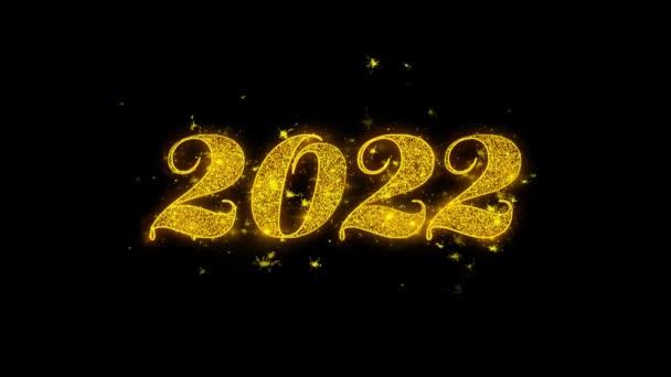 Boldog új évet 2022 tipográfia írt arany részecskék Sparks Fireworks