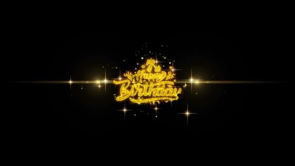 7. Happy Birthday goldener Text blinkende Teilchen mit goldenem Feuerwerk