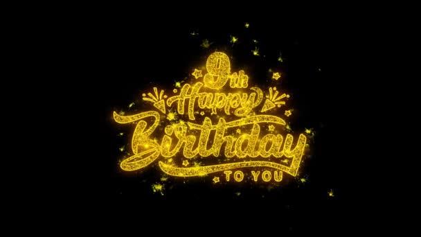 Mit Goldpartikeln geschriebene Typografie zum 9. Geburtstag zündet Feuerwerk