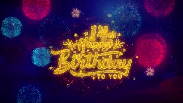14. Boldog születésnapot üdvözlőszöveg Sparkle részecskék színes tűzijáték