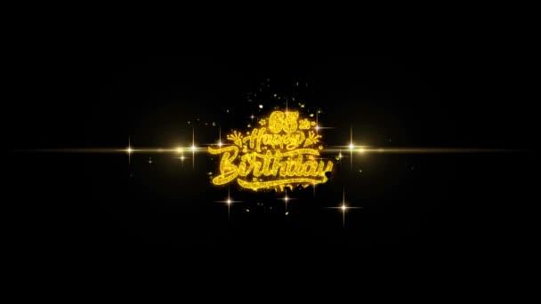 65 5 šťastné narozeniny zlatý text blikající částice se zlatou displejem Fireworks