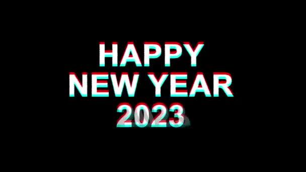 Šťastný nový rok 2023 efekt vichviče text digitální TV deformace 4k smyčka animace