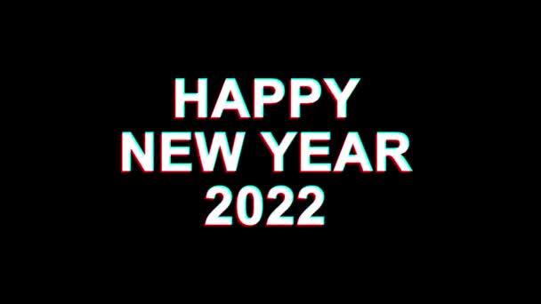 Šťastný nový rok 2022 efekt vichviče text digitální TV deformace 4k smyčka animace
