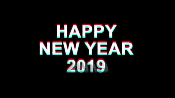 Šťastný nový rok 2019 efekt vichviče text digitální TV deformace 4k smyčka animace