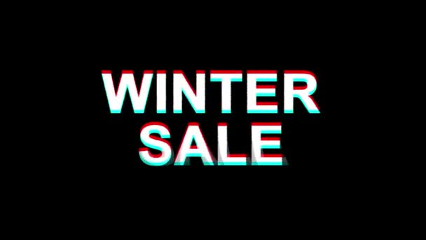 Winter Sale Glitch Effect Szöveg Digitális Tv Distortion 4k Loop Animation