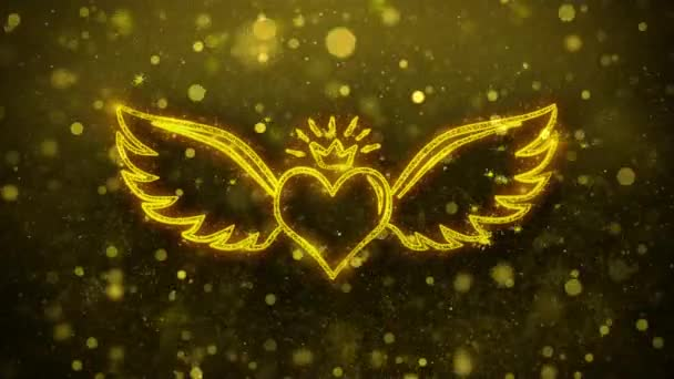 Szív Angle Wings alak 4k Animtion.