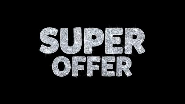 Super ajánlat villogó szöveg kívánja részecskék köszöntések, meghívó, ünnepi háttér