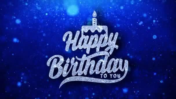 Vše nejlepší k narozeninám blikající text přání částice pozdravy, pozvánka, pozadí oslavy