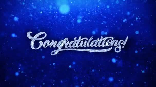 Gratulálunk kék szöveg kívánja részecskék köszöntések, meghívó, ünnepi háttér