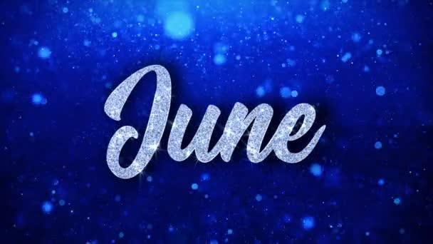Június kék szöveg kívánja részecskék köszöntések, meghívó, ünnepi háttér